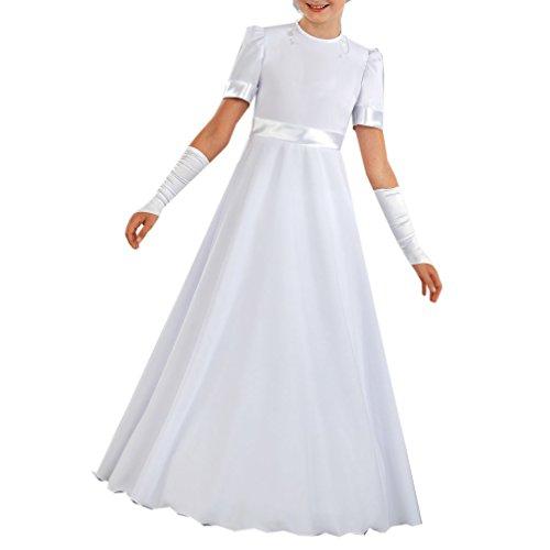 Celebration Kommunionkleid Kleid für Kommunion Festkleid schlicht elegant weiß lang SP-53a (134)