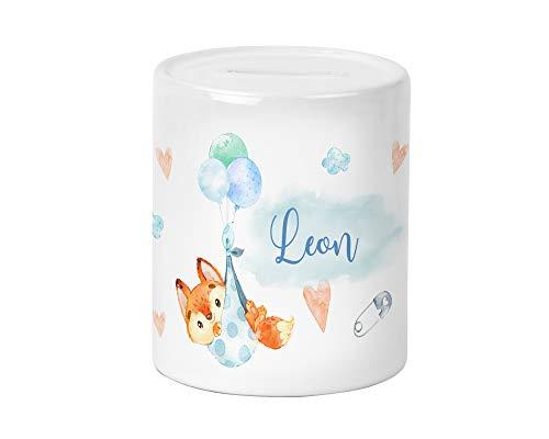 Yuweli Baby Fuchs Kinder-Spardose für Jungen und Mädchen mit Namen personalisiert zur Einschulung Taufe Geburtstag Geburt Sparschwein Geldgeschenk