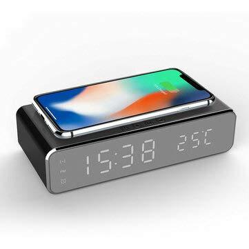 MCGLOBAL Eléctrico LED 12/24H Reloj Despertador Con Teléfono Cargador Inalámbrico Mesa Termómetro...