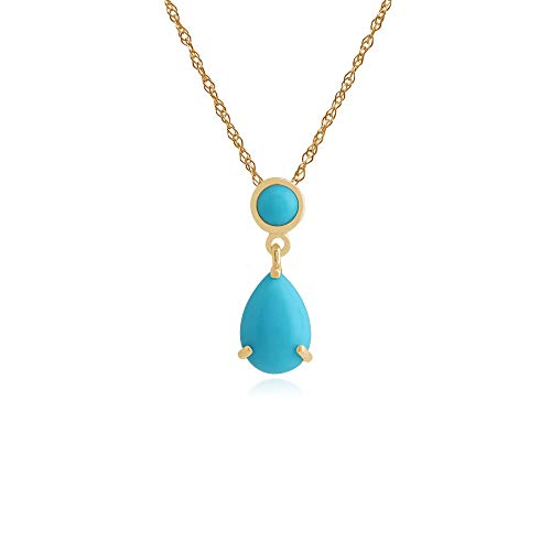 Gemondo Women 375 Gold 9ct Yellow Gold Pear Turquoise Classic Two Stone Pendant Necklace Turquoise 45cm