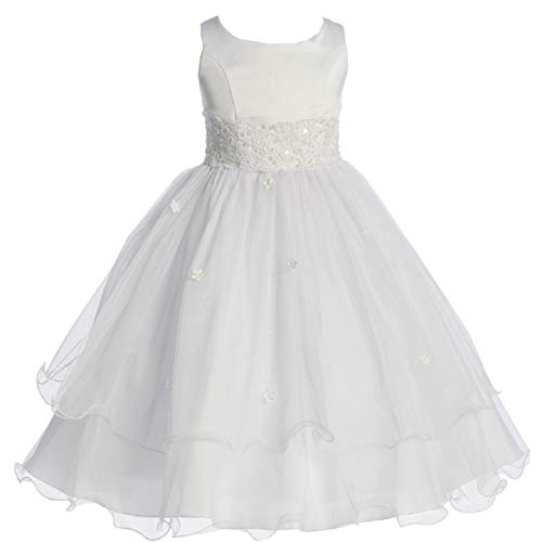 Big Girls' First Communion Lace Trim Tulle Wedding Flowers Girls Dress White Size 8 (K19D8)