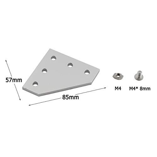 PZRT 2020 Series L Shape Joint Plate Bracket Kit,4pcs Joint Plate,20pcs M5 T-slot Nuts, 20pcs M5x8mm Hex Socket Cap Screw,for Standard 6mm Slot Aluminum Profile