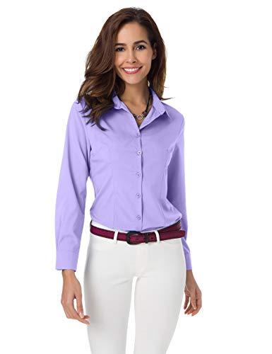 Atnlewhi Women Basic Long Sleeve Button Down Shirts Simple Pullover, Light Purple, M