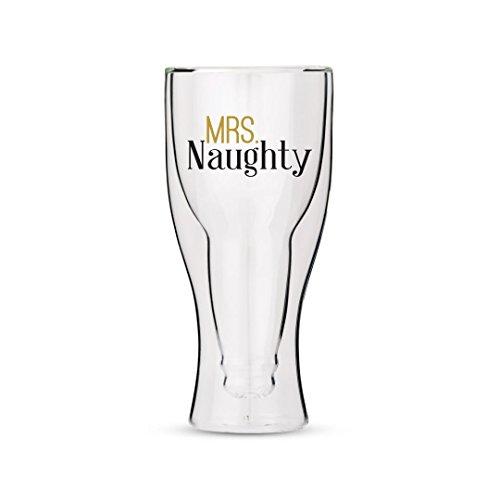Weddingstar Verre à bière à Double paroi avec Mrs Naughty Motif