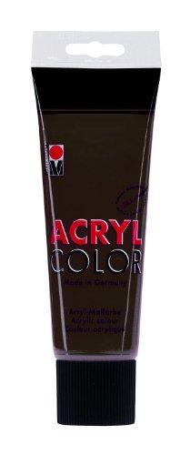 Marabu 12010025045 - Acryl Color dunkelbraun 225 ml, cremige Acrylfarbe auf Wasserbasis, schnell trocknend, lichtecht, wasserfest, zum Auftragen mit Pinsel und Schwamm auf Leinwand, Papier und Holz