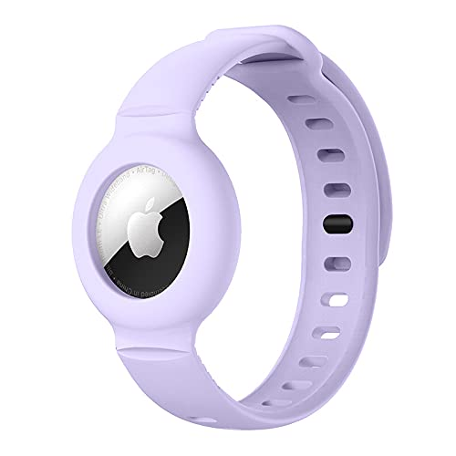 Apple Airtag Watch Bands Silicone Airtags GPS Tracking Strap of Case Protective Case Cover Anti-Lost Locator Airtag Lightweight Watch Band for Toddler Baby Kid Children Elders (Purple)