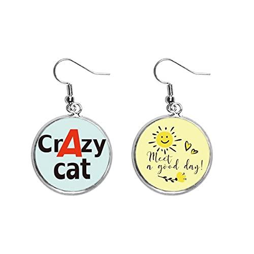 Breve mejor gato loco gato gato gato gota gota sol flor pendiente joyería moda