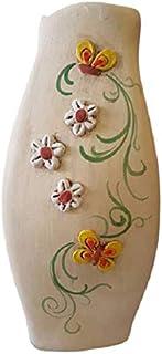 Vaso smerlato in ceramica linea fiori e farfalle