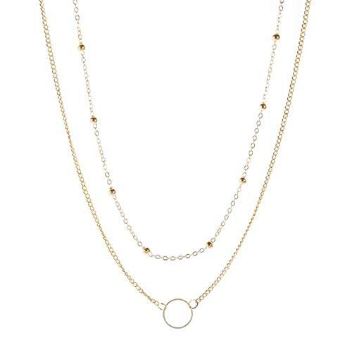 Collar Collar De Gargantilla De Color Dorado para Mujer Collar Colgante En Capas Cadena Chocker Cadenas De Cuello Moda Igirl Friends Jewerly Gold