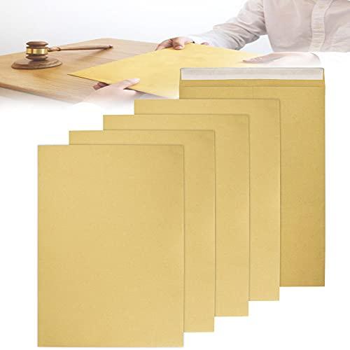 FIGFYOU 50 Stück A4 Briefumschläge Faltentaschen Kraftpapier 140 g/m² Versandtaschen Brief Umschläge ohne Fenster für Weihnachtskarten, Einladungen, Fotos, Briefe zu Senden 22.8*32.3CM Braun