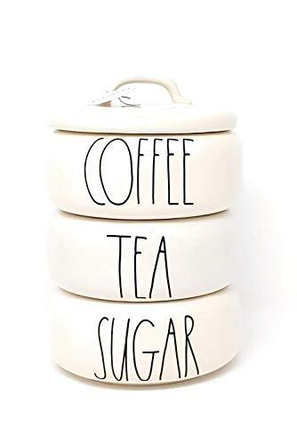 Rae Dunn by Magenta、スタックキャニスター(3)、ベージュ、ブラックLL、コーヒー、紅茶、砂糖