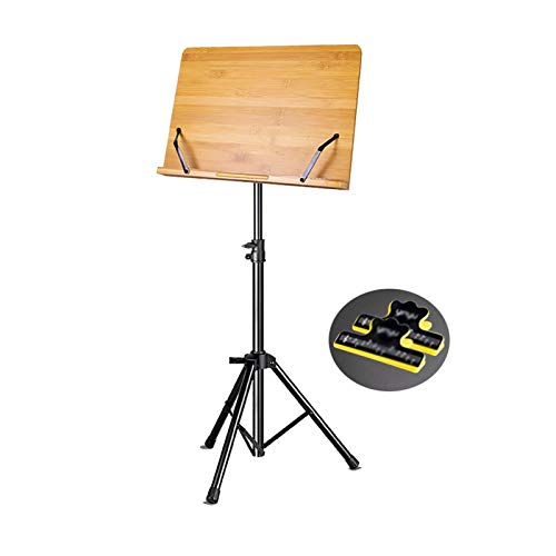 YYLL Music Shelf Bamboo Music Stand,Height and Angle Adjustable Sheet Stand,with Music Book Holder (Color : Wood Color)
