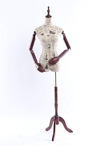 Eurotondisplay weibliche Schneiderpuppe B-6-0, Zeitung Muster stoffbezogenen Oberkörper mit Deckel aus Holz,Arme und Finger aus Holz beliebig verstellbar, dunkler Holzstand (B-6-0 weiblich)