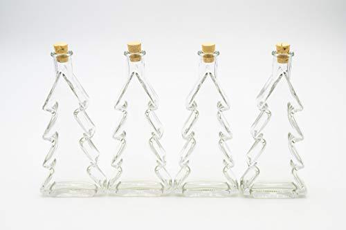 Flaschenbauer - 4 x Leere Glasflaschen 200ml Tannenbaum: Mini Glasflaschen Korken verwendbar als kleine Flaschen zum Befüllen, Leere Schnapsflaschen klein, Weihnachtsgeschirr, Deko Flaschen