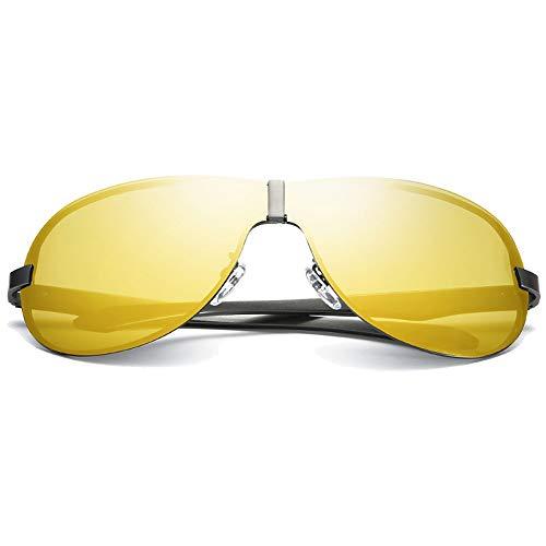 FAGavin Gafas de sol polarizadas de metal con visión nocturna, gafas de sol de conducción para hombre, color negro/gris