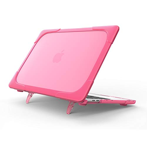 QYiD MacBook Pro 13 Inch Case 2019 2018 2017 2016 A2159 A1989 A1706 A1708, 2 in 1 Heavy Duty ShockProof Case Cover Matt Protective with Plastic Bumper for Apple Mac Pro 13 Touch Bar, Rose