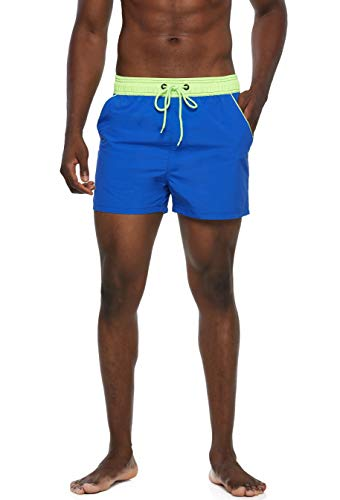 Arcweg Bañadores Hombres de Natación Pantalones Cortos de Playa Hombres Deportes Secado Rápido Ajustable Cómodo Actividad Acuáticos Azul y Verde Fluorescente M