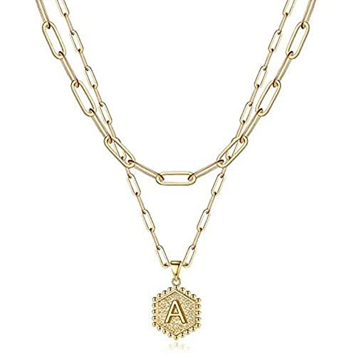 Colgante de letra hexagonal exquisito collar duradero chapado en oro de 14 quilates con clip de papel multicapa
