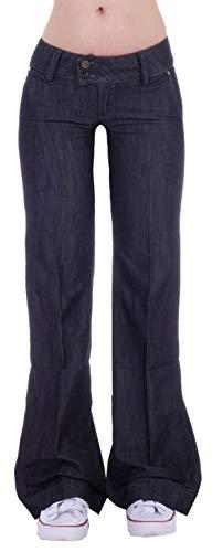 Damen Bootcut Hosen Hüftjeans Jeans Schlagjeans blau Schlag-Hose-n Damenjeans Damen-Hose-n Jeans-Hose-n Hüft-Hose-n Niedrige-r Leib-Höhe Bund Weite-m-s Bein Mega Großer Schwarz-e Gr Größe XS 34