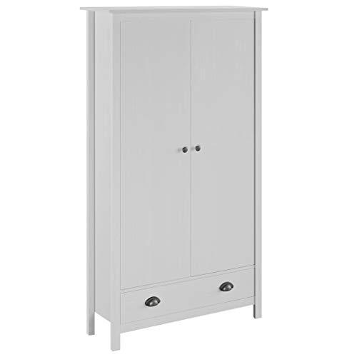 vidaXL Kiefernholz Massiv Kleiderschrank mit 2 Türen 1 Schublade 1 Regal Garderobenschrank Holzschrank Schrank Schlafzimmerschrank Weiß 89x50x170cm