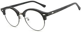 SGJFZD Men's New European and American Style Sheet Glasses Retro Literary Wood Grain Glasses Frame (Color : Black)