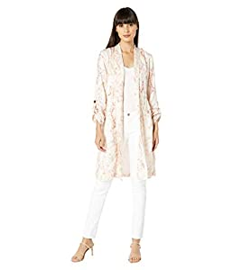 cupcakes and cashmere Women's Neptune Snake Printed Satin Trench, Soft Beige, Small