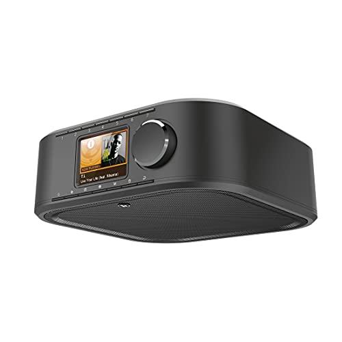 Hama 54236 DAB Radio DIR355BT Internet Radio DAB+, Bluetooth & Spotify (WLAN Küchenradio mit FM, AUX, App Bedienung, Radiowecker und Display, Unterbauradio mit Montageplatte ohne Bohren) schwarz