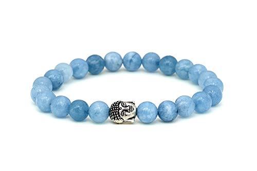 Aguamarina pulsera de Buda de piedra natural o perlas de piedras volcánicas y perla fina budista - BERGERLIN