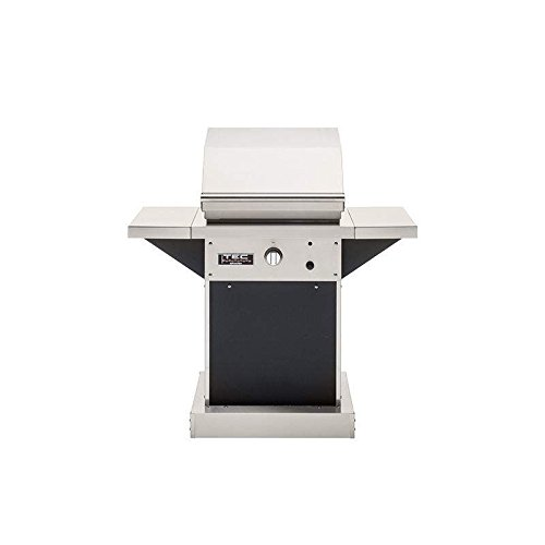 TEC Patio 1 FR Infrared Grill on Black Pedestal with Two Side Shelves (PFR1-LPPEDB-PFRSS-2), Propane Gas
