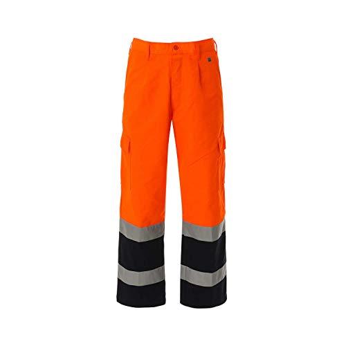 WORK AND STYLE Zweifarbige Warnschutzhosen - Lumen Orange/Marineblau, XL