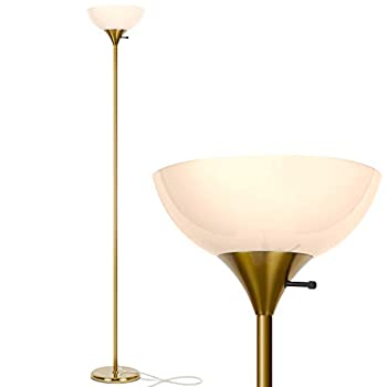 Brightech Sky Dome - Very Bright LED Torchiere Floor Lamp for Living Rooms & Offices– Dimmable Modern Standing Lamp – Tall Pole Light for Bedrooms – LED Bulb Included - Brass Gold