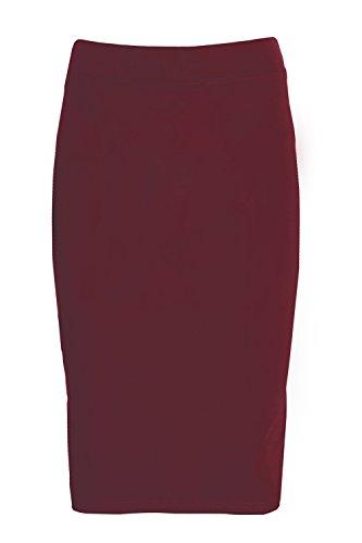 ESTEEZ Girls Modest Lightweight Cotton Lycra Knee Pencil Skirt Burgandy Medium