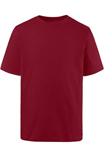 JP 1880 Herren große Größen bis 8XL, T-Shirt, JP1880-Motiv auf der Brust, Basic-Shirt, Rundhalsausschnitt, Reine Baumwolle, weinrot 4XL 702558 57-4XL