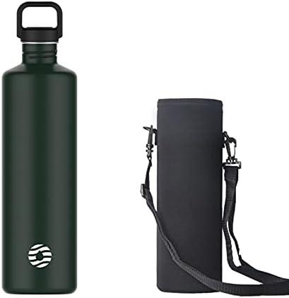 Botella de agua de acero inoxidable de 2 l, botella de una sola pared de 2 litros, Verde