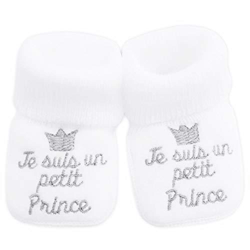 NOSBEBES® Chaussons bébé idée Cadeau bébé maternité ou idée Annonce de Grossesse (Blanc-PC)