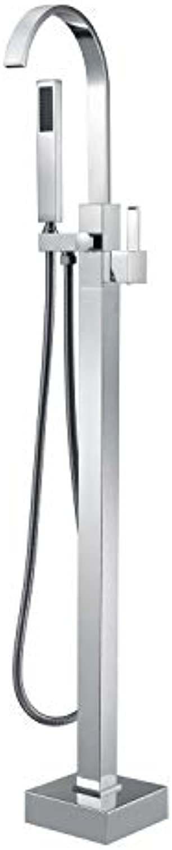 Freistehende Badezimmer-Tap, Badezimmer-Mixer Taps Chrome Single Handle Floor Mount Brass Filler Faucet mit Handheld Dusche