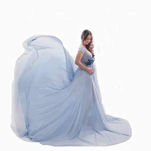 Vestiti di maternità Fotografia Abito in Chiffon Elegante off-Spalline Vestito Maxi Donna Premaman Abito da Fata Foto Lunghi Vestiti