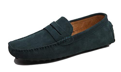 MINITOO Uomo con Fibbia Verde Camoscio Estivi Mocassini Loafers Scarpe YY2088 EU 38