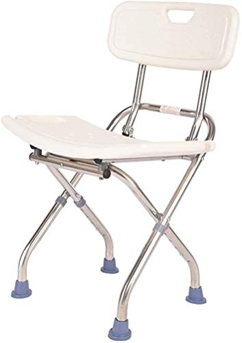 Folding Shower Seat Stool with Backrest - Foldable Bath Bench Shower Chair Portable Bathroom Assist for Seniors, Disabled Bathtub Seat Adjustable Height, 150kg Capacity