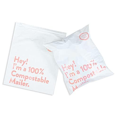Paquete de 100 bolsas compostables para correo de ropa, sobres no plásticos, autosellados, grandes paquetes, textiles, colores ecológicos, PLA PBAT (blanco)