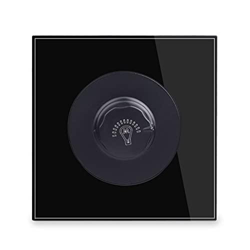 Yuanjing-Switch para el Interruptor de la luz de la Pared del Panel de Cristal de la lámpara incandescente de 15 a 500W AC 220V R11 Series (Color : Black, Voltage : 220V)
