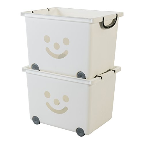 Iris Ohyama, lote de 2 cajas grandes de almacenamiento de juguete sobre ruedas - Smiley Kids Boxes - KCB-43, blanco/plata, 34 L, 43,5 x 32,5 x 31,5 cm