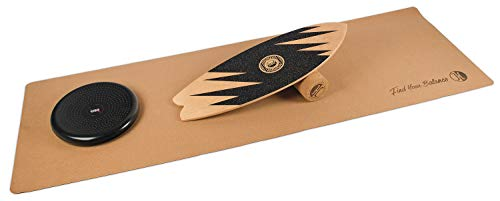 JUCKER HAWAII Homerider Ocean Balance Board Set XL Including Cork Roller, Cork Mat and Balance Cushion