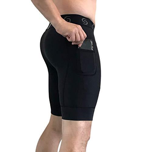 Sport-it Herren Kompressionshose Workout Shorts Leggings mit Taschen für Handy - Base Layer Strumpfhose, Kurze Hose - Schwarz - Klein