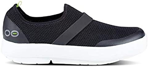 OOFOS Women's OOmg Low Slip-On Recovery Shoe - Color: Black/White - Size: 9 - Width: Regular