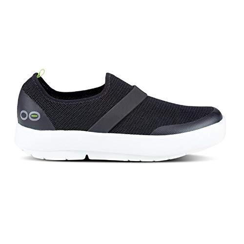 OOFOS Women's OOmg Shoe - Post Exercise Active Recovery Footwear Plantar Fasciatis & Impact Absorbing Orthopedic Foot & Heel Pain Relief Sneaker - White/Black - W10