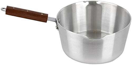 Ease-n-Comfort Aluminium Milk Pan - Non-Stick Saucepan with Dual Pour Spouts & Wooden Handle - Coffee, Cooking, Stainless Steel Tea Pot - Oven & Dishwasher Safe - NOT Compatible with Induction HOB