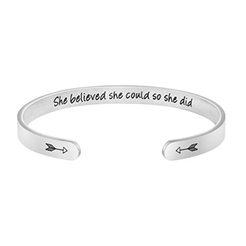 JoycuFF Inspirational Gifts for Women Girls Teenages Friendship Cuff Bracelets for Women Girl Birthday Stainless Steel Jewelry She Beleived She Could So She Did