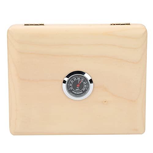 Reed Box, Clarinet Box Práctico cuadrado de 5 rejillas con higrómetro para organización(Wood color, blue)