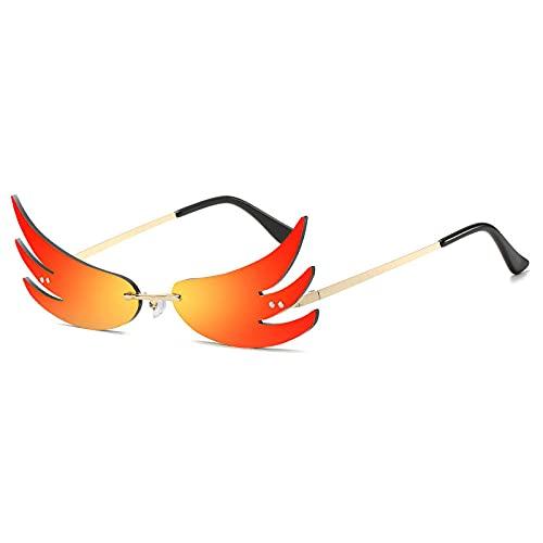 DLSM Moda única Forma de Llama Gafas de Sol Mujeres Colorido Espejo Recubrimiento Lente reflexivo Gafas Hombres Gafas de Sol Tonos UV400-Rojo Oscuro